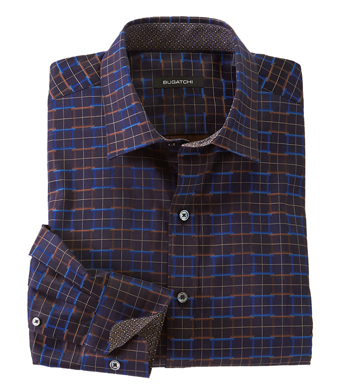 Bugatchi Squares Long Sleeve Sport Shirt