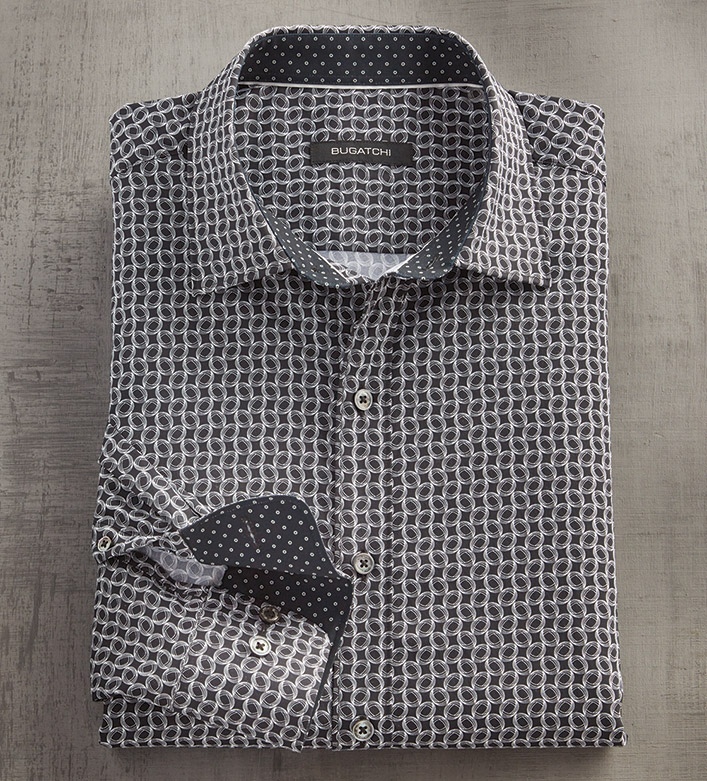 Bugatchi Vibrating Ovals Print Long Sleeve Sport Shirt
