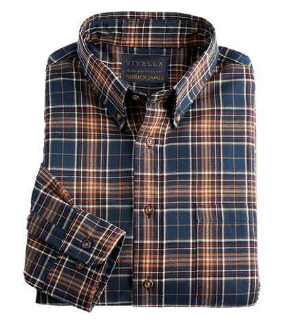 Navy/Camel Plaid Sport Shirt