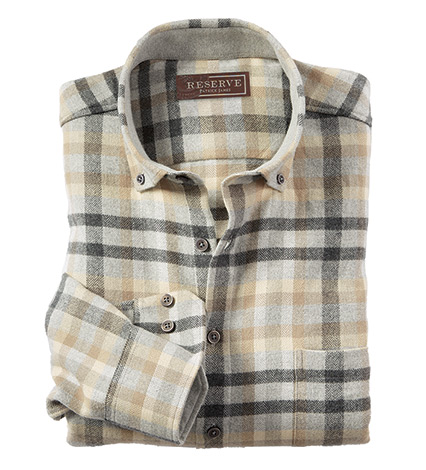 Herringbone Flannel Check Long Sleeve Sport Shirt