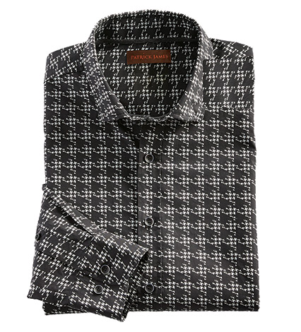 Houndstooth Check Long Sleeve Sport Shirt