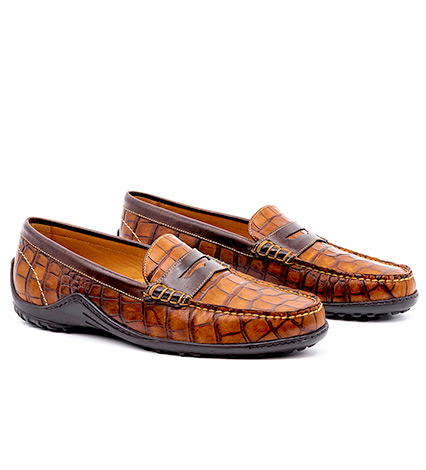 Alligator Grain Loafers with Contrasting Trim