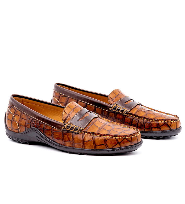 Martin Dingman Alligator Grain Loafers with Contrasting Trim