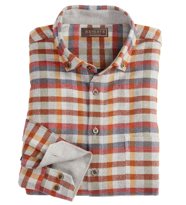 Reserve Check Herringbone Flannel Long Sleeve Sport Shirt