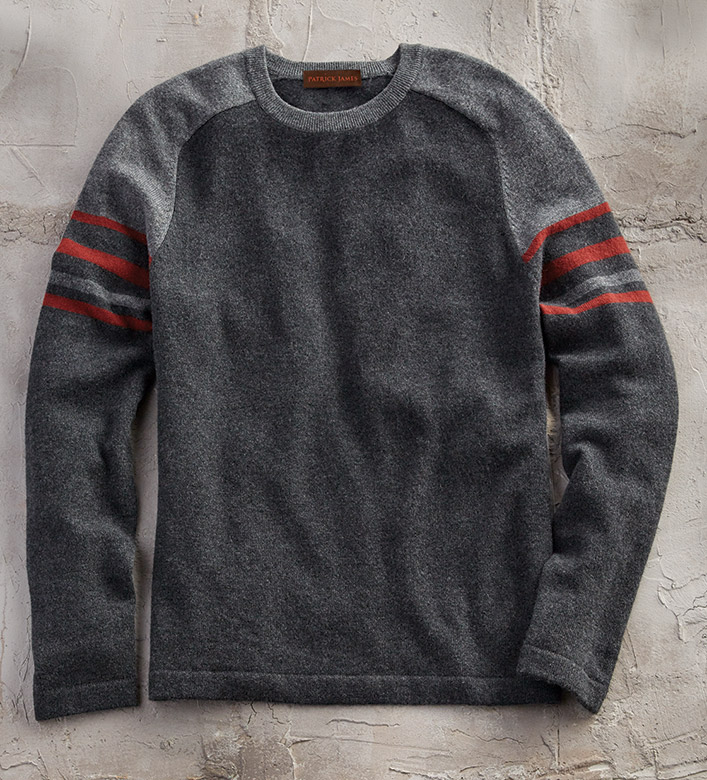 Patrick James Striped Cashmere Sweater