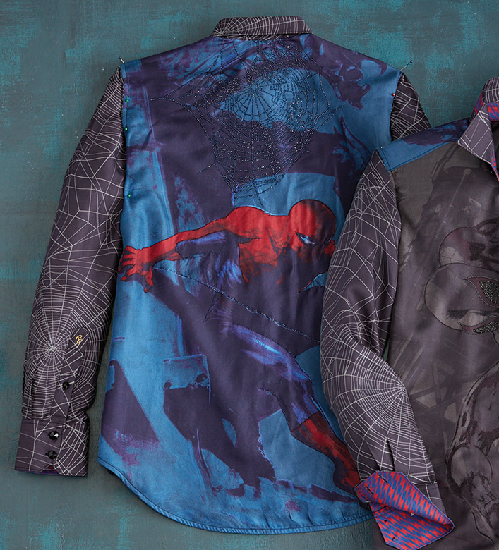 Robert Graham X Marvel Wall Crawler Spider-Man Limited Edition Sport Shirt