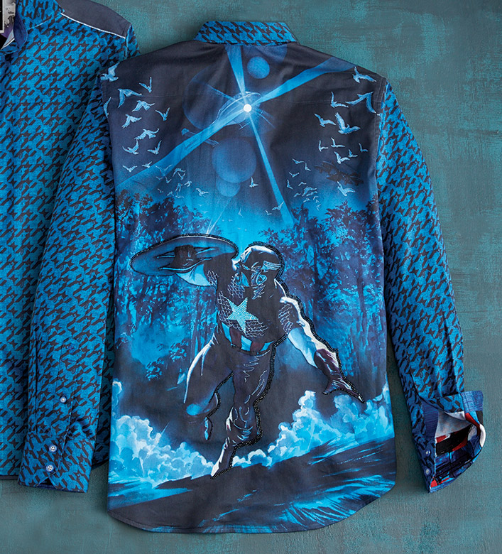 Robert Graham X Marvel Cap In Charge Captain America Sport Shirt