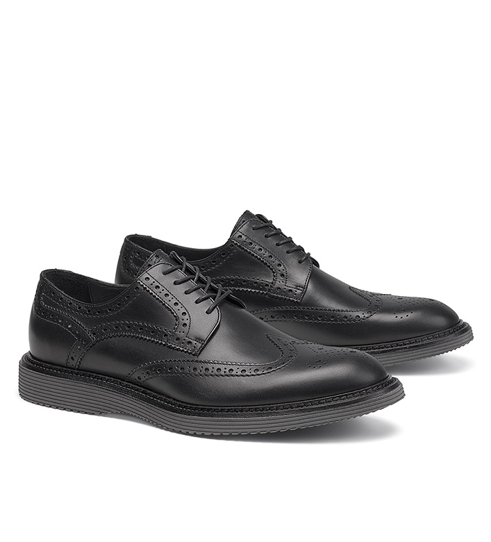 Trask Black Rogan Wingtip Shoes
