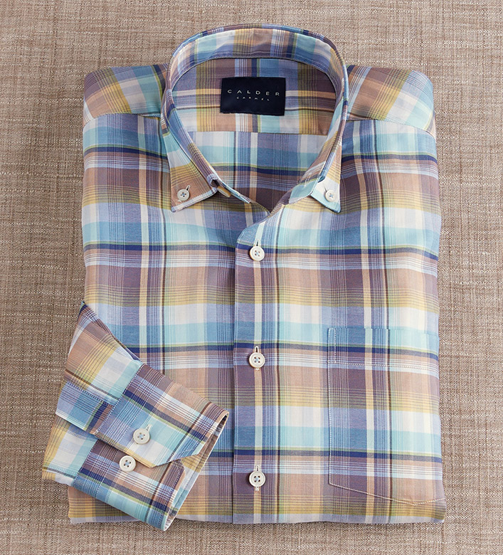 Calder Carmel Melange Plaid Long Sleeve Sport Shirt