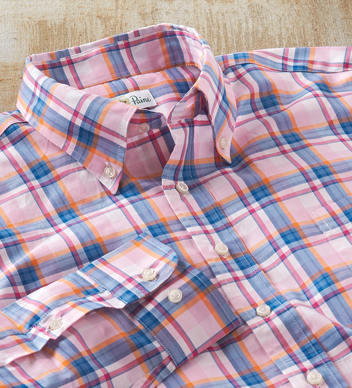 Alan Paine Plaid Long Sleeve Sport Shirt