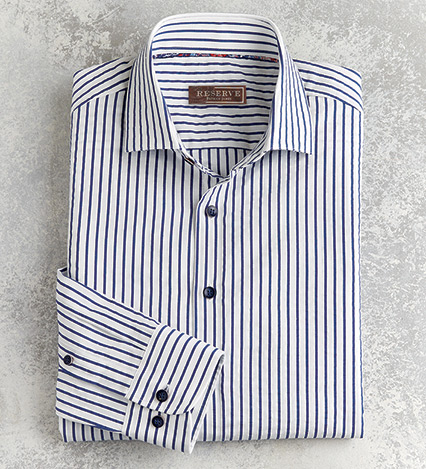 Textured Stripe Long Sleeve Sport Shirt