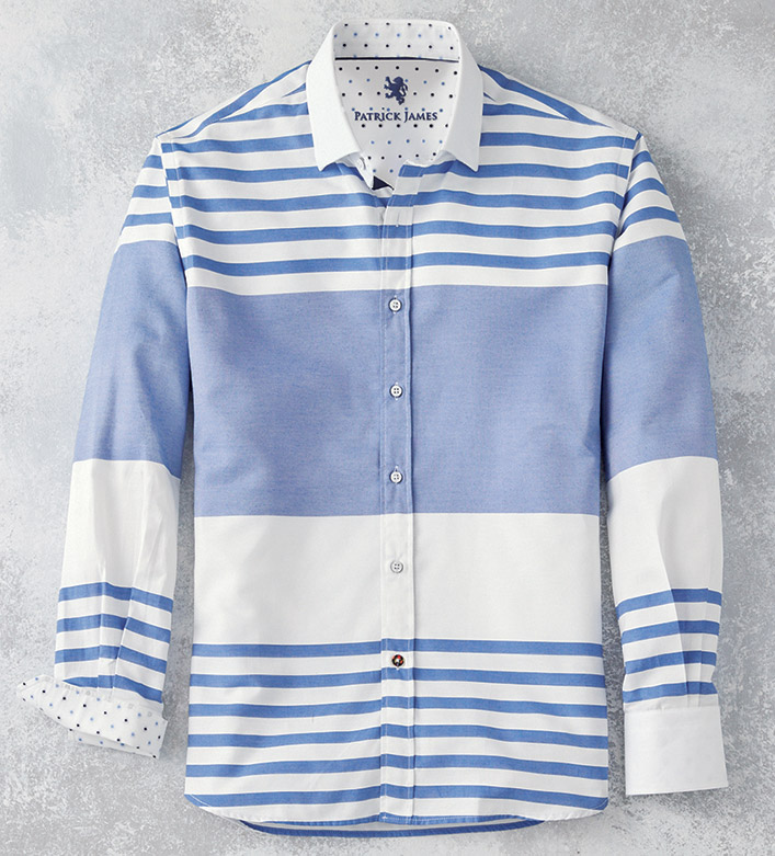 Patrick James Horizontal Stripe Long Sleeve Sport Shirt