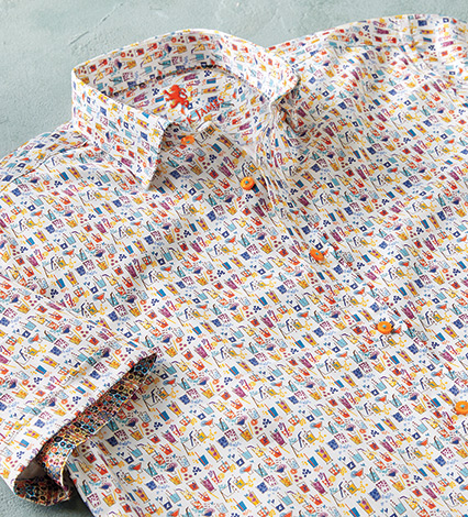 Cocktail Print Short Sleeve Sport Shirt
