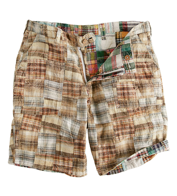 True Grit Brown Reversible Madras Patchwork Shorts