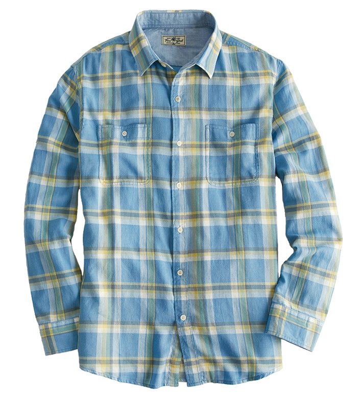 True Grit Plaid Flannel Long Sleeve Sport Shirt