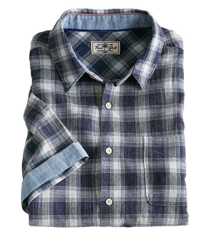 True Grit Route 66 Hudson Plaid Short Sleeve Sport Shirt
