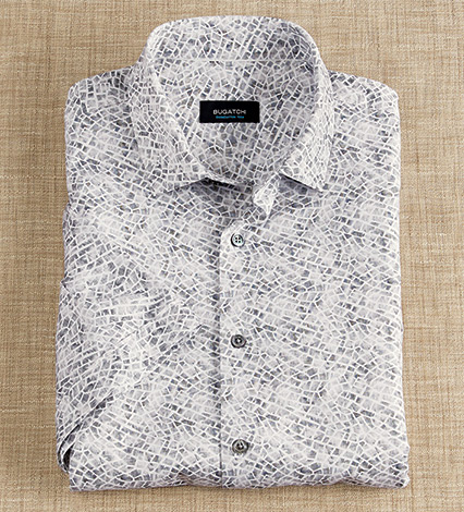 Tile Pattern Knit Short Sleeve Sport Shirt