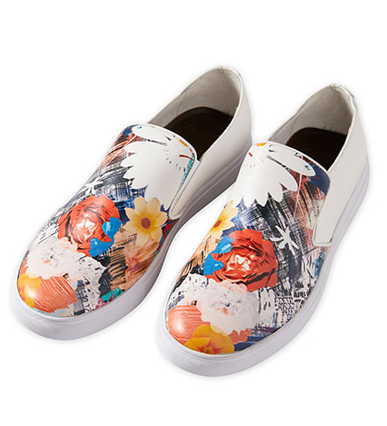 Buddy Floral Leather Slip-On Shoes