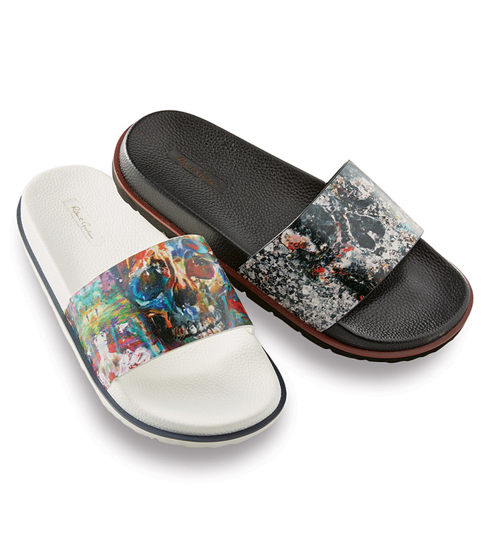 Robert Graham Handley Black Skull Print Slides