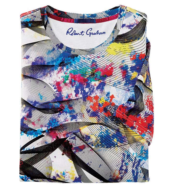 Robert Graham Color Splat Spiral Short Sleeve Tee Shirt