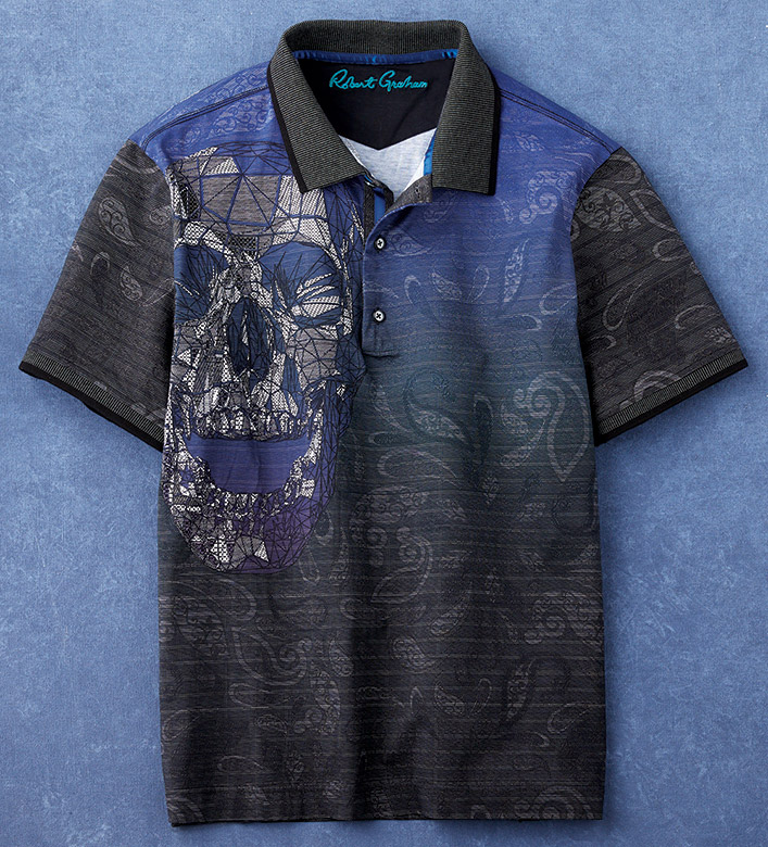 Robert Graham Certain Flair Skull Short Sleeve Polo Shirt