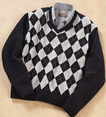 Reserve Classic Argyle Wool V-Neck Sweater