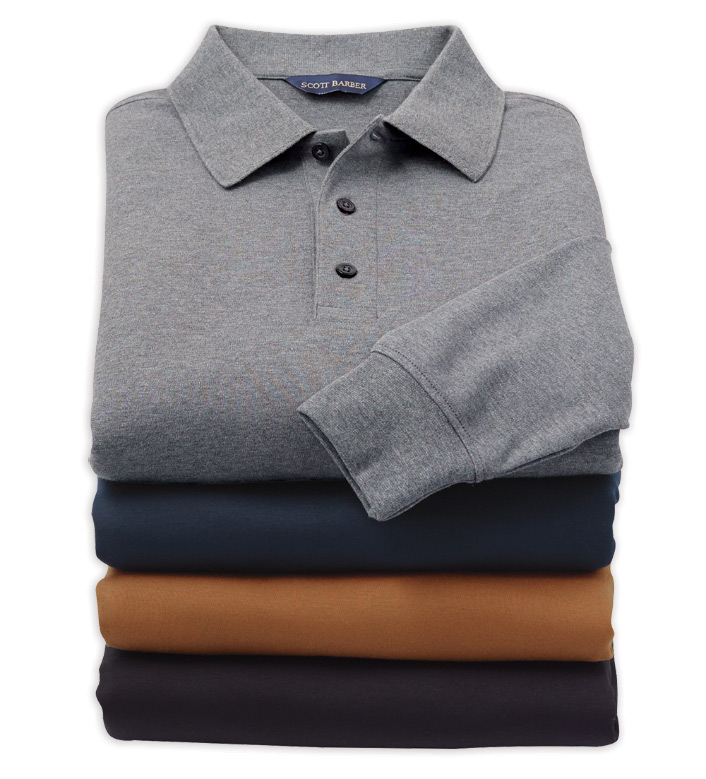 Scott Barber Long Sleeve Pima Cotton Polo Shirt
