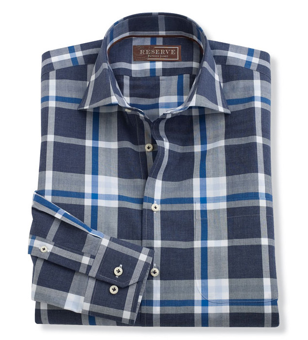 Reserve Long Sleeve Exploded Plaid Sport Shirt