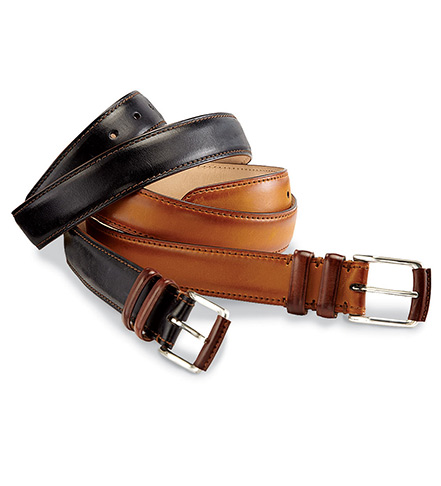 Peter Millar Burnished Calfskin Leather Belt