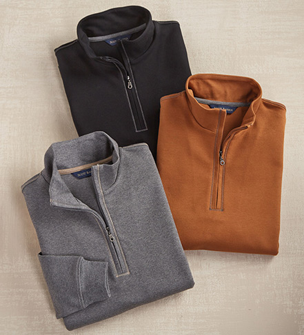 Scott Barber Quarter-Zip Mock-Neck Pullover