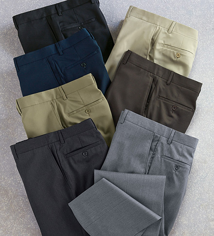 Patrick James Wool Gabardine Flat Front Slacks