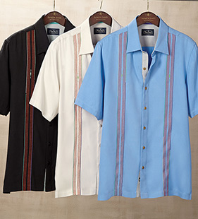 Calder Embroidered Silk Short Sleeve Sport Shirt