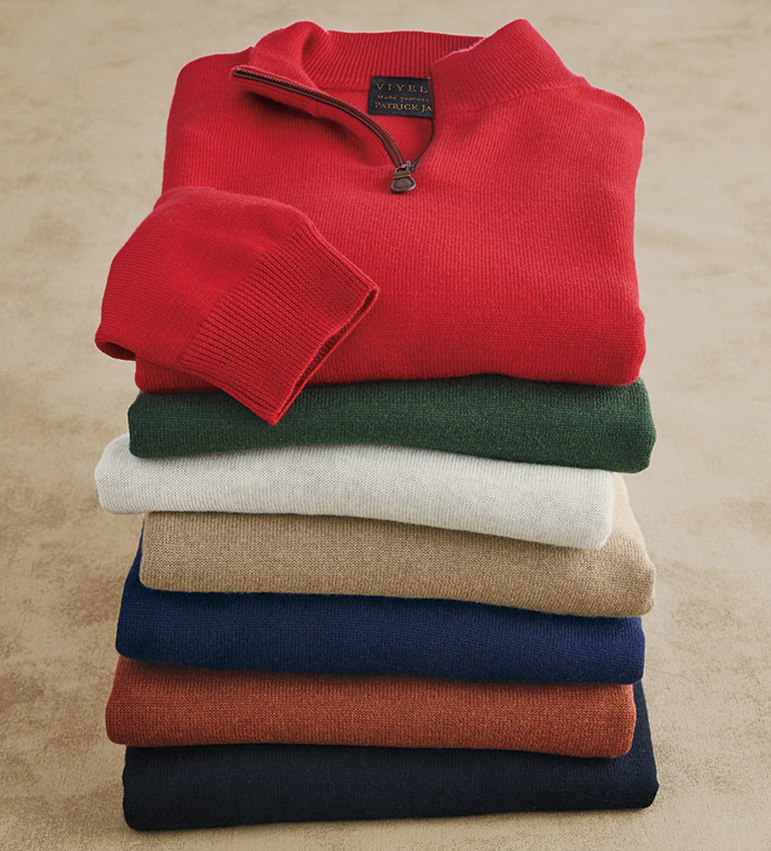 Viyella Merino Mock Quarter Zip Sweater