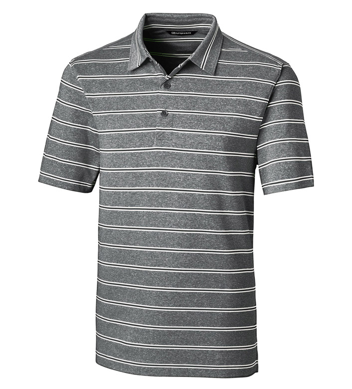 Cutter & Buck Forge Heather Stripe Short Sleeve Polo Shirt