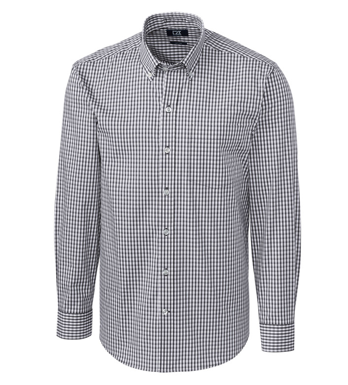 Cutter & Buck Easy Care Stretch Gingham Long Sleeve Sport Shirt