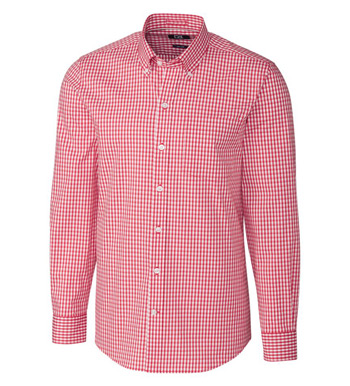 Tailored Fit Stretch Gingham Long Sleeve Sport Shirt