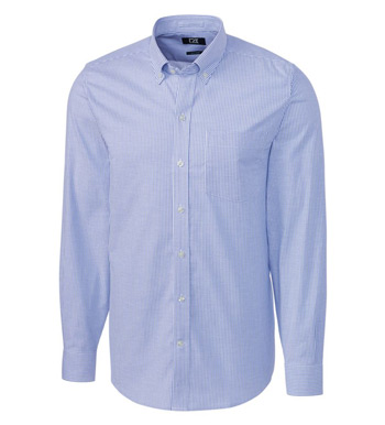 Tailored Fit Stretch Oxford Stripe Long Sleeve Sport Shirt