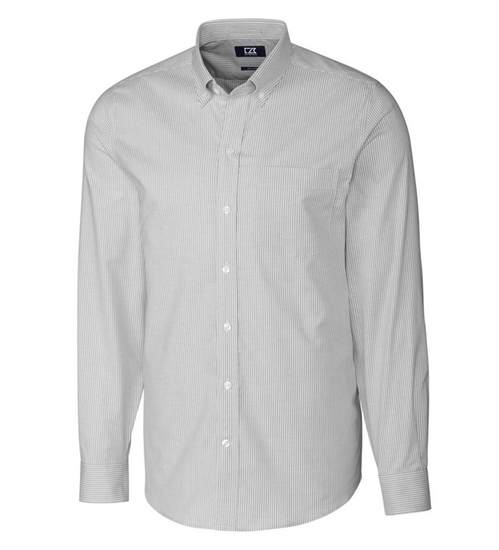 Cutter & Buck Tailored Fit Stretch Oxford Stripe Long Sleeve Sport Shirt