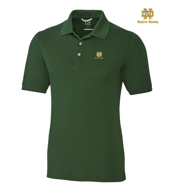 Cutter & Buck University of Notre Dame Cotton+ Advantage Short Sleeve Polo