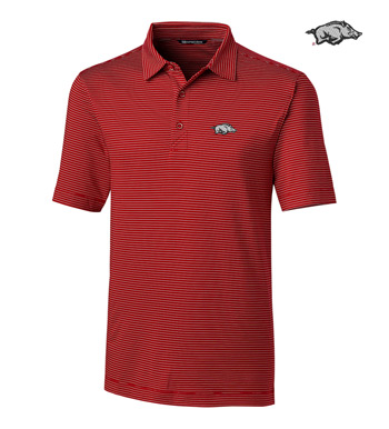 University of Arkansas Stripe Short Sleeve Polo