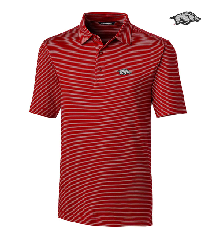 Cutter & Buck University of Arkansas Stripe Short Sleeve Polo