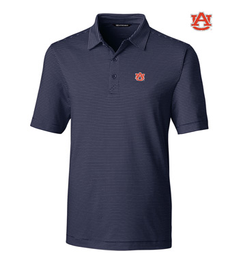 Auburn University Stripe Short Sleeve Polo