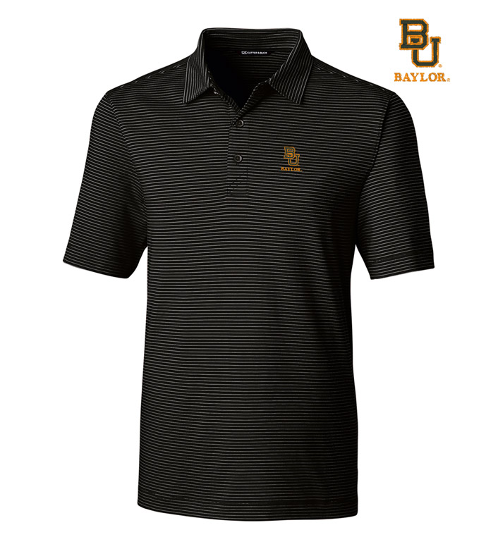 Cutter & Buck Baylor University Stripe Short Sleeve Polo