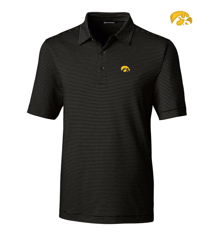 Cutter & Buck University of Iowa Stripe Short Sleeve Polo