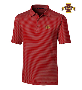 Iowa State University Stripe Short Sleeve Polo