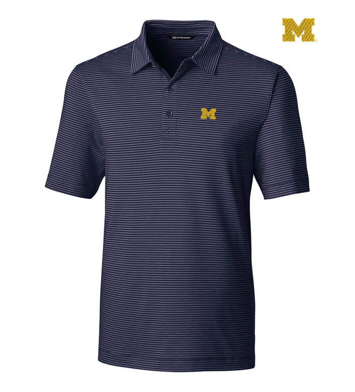 Cutter & Buck University of Michigan Stripe Short Sleeve Polo