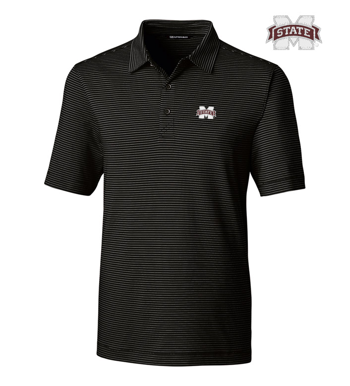 Cutter & Buck Mississippi State University Stripe Short Sleeve Polo