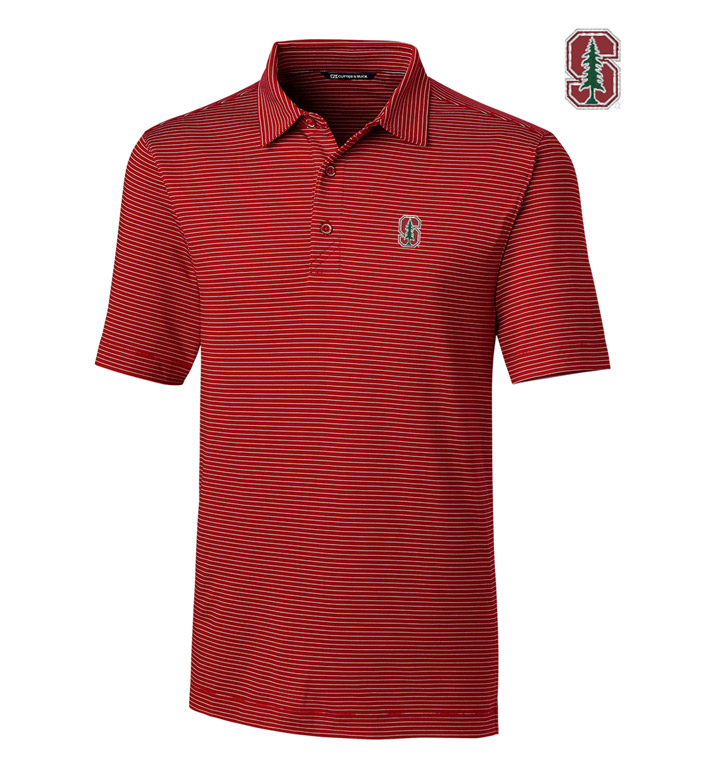 Cutter & Buck Stanford University Stripe Short Sleeve Polo
