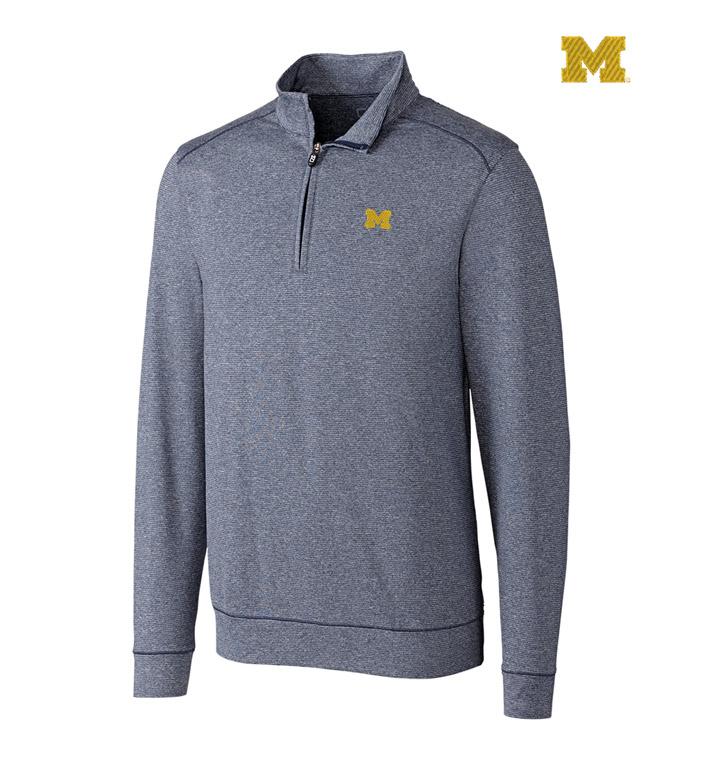 Cutter & Buck University of Michigan DryTec Stretch Jersey Half-Zip Pullover