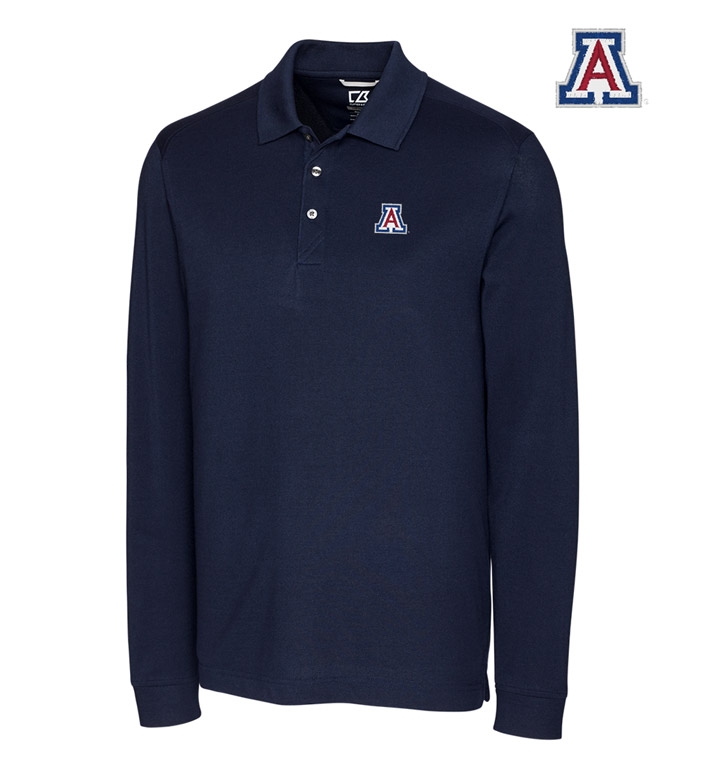 Cutter & Buck University of Arizona Cotton+ Advantage Long Sleeve Polo